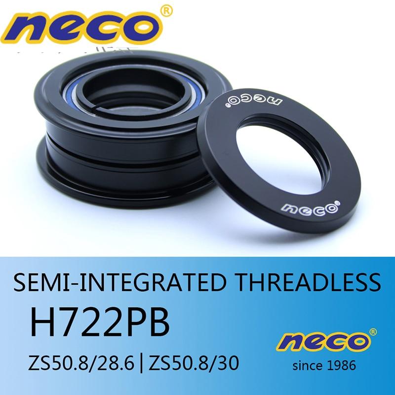 Neco Headset 50.8 Semi Integrated Threadless ZS50.8 28.6mm for Straight fork Upper Headsets Road Bike MTB head tube