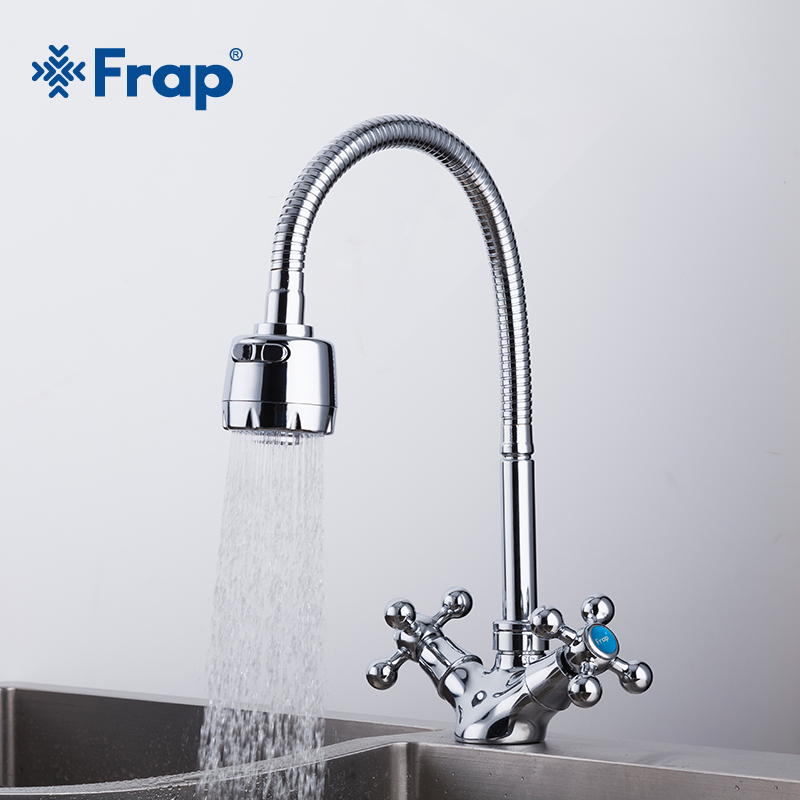 Double Handle Kitchen Faucet Mixer Cold And Hot Kitchen Tap Single Hole Water Tap Torneira Cozinha
