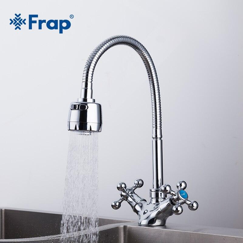 Frap prata dupla alça torneira da pia da cozinha misturador de água fria e quente da cozinha misturador único furo torneira cozinha f4319