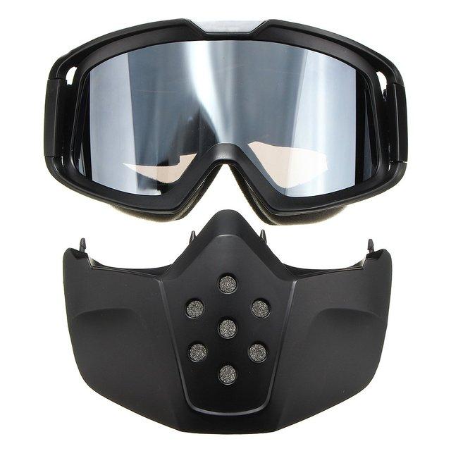 Gafas de montar Moto Gafas Máscara Negro Modular Desmontable para La Cara Abierta Cascos de Motocicleta Medio Vendimia Gris Lente