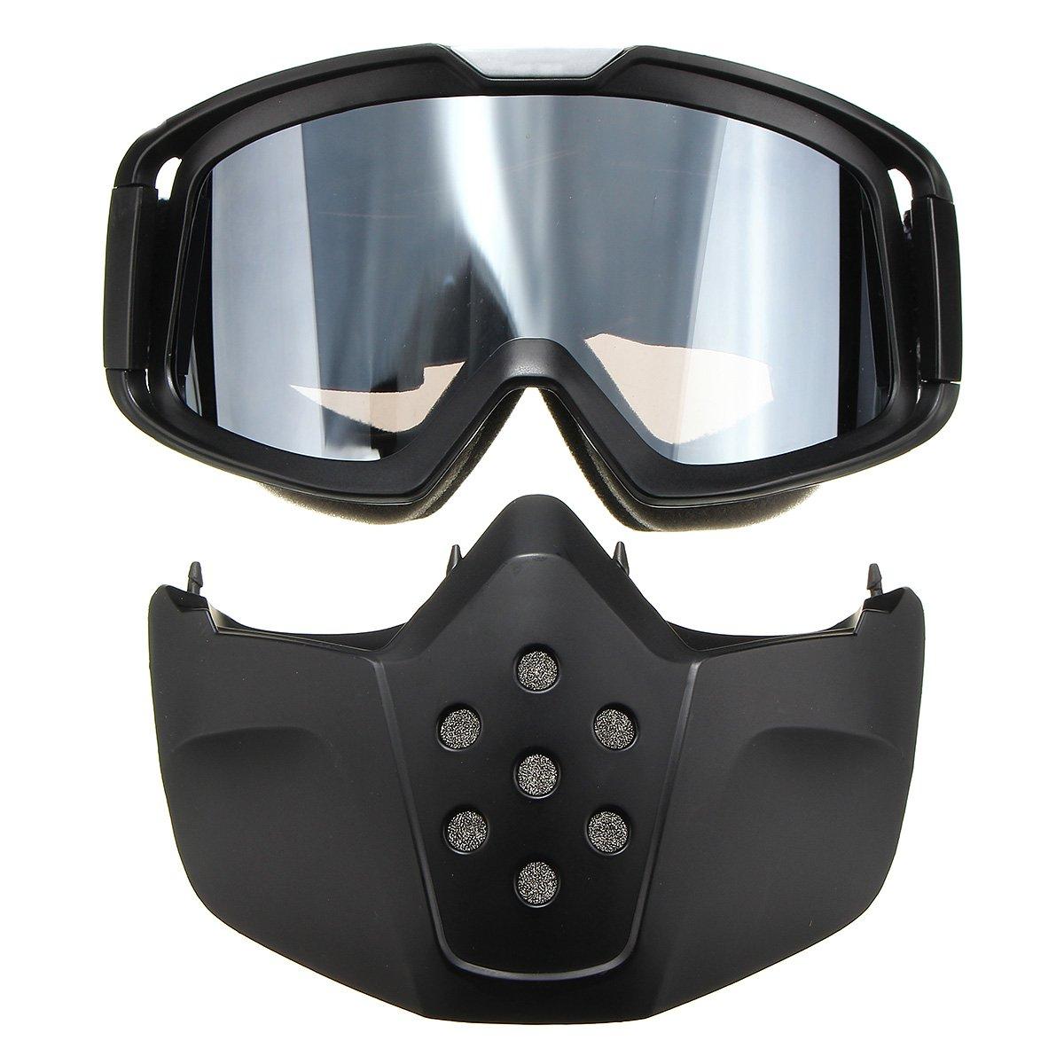 Naik Sepeda Motor Kacamata Hitam Modular Masker Dilepas Kacamata untuk Helm  Wajah Terbuka Sepeda Motor Setengah 408d1555f5