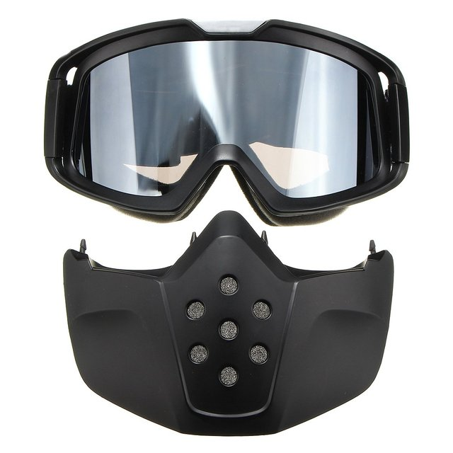 2d65fe44bca Riding Motorbike Glasses Black Modular Mask Detachable Goggles for Open  Face Motorcycle Half Vintage Helmets Grey
