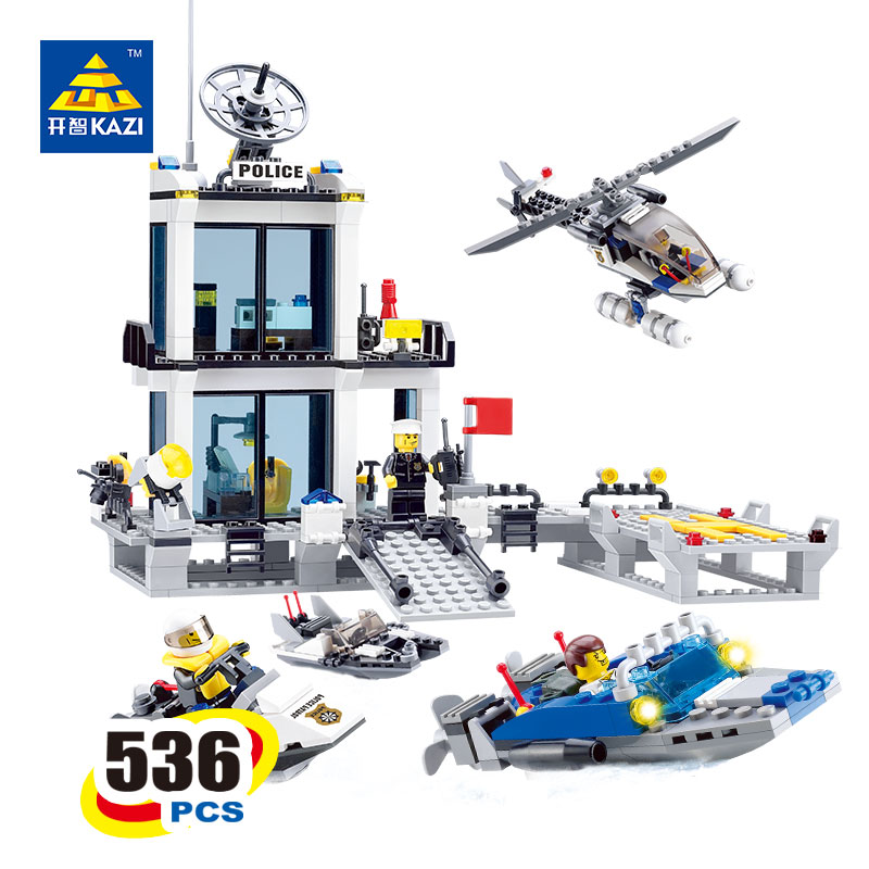 2017 Kazi 6726 Polizei Blocke Bricks Modell Hubschrauber Schnellboot Padagogisches Bildung Spielzeug For Kinder Toy for Children lepin 06058 ninja serie die tempel der ultimative ultimative waffe modell bausteine set kompatibel 70617 spielzeug fur kinder
