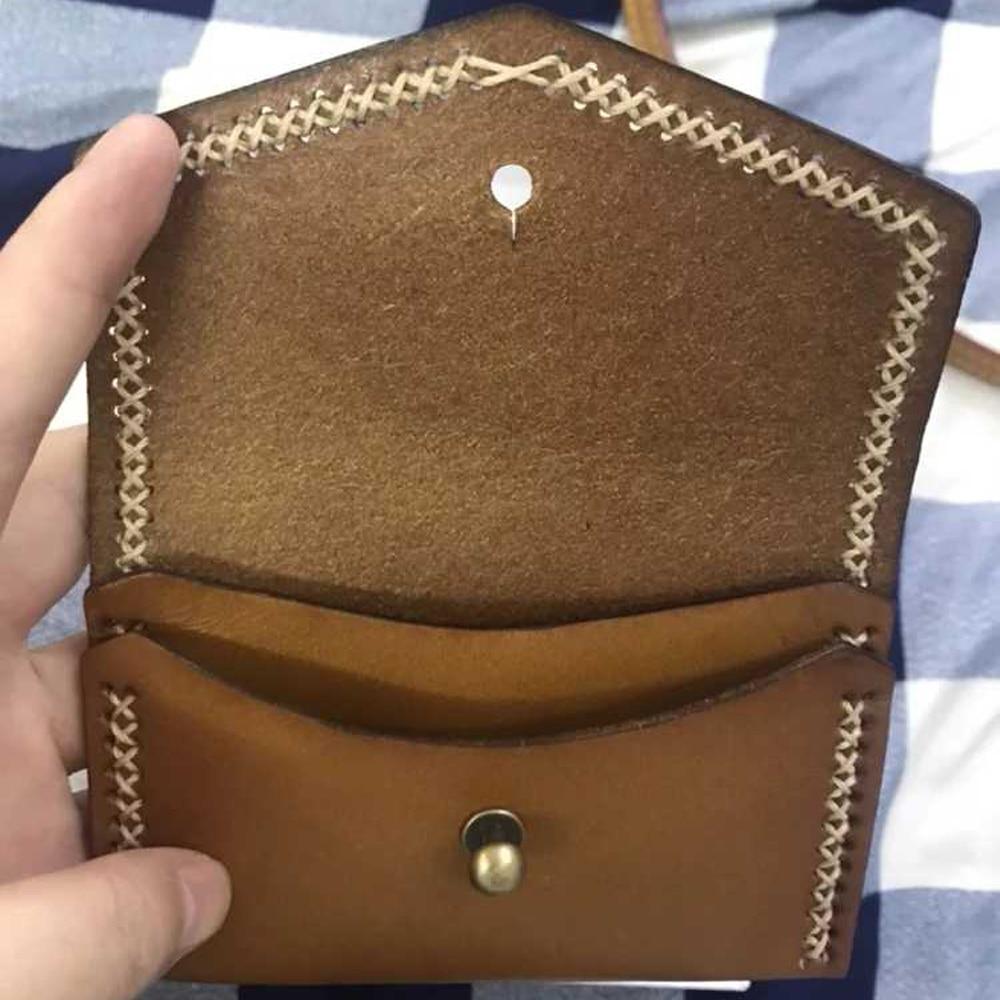 DIY leather craft women card holder small wallet die ...