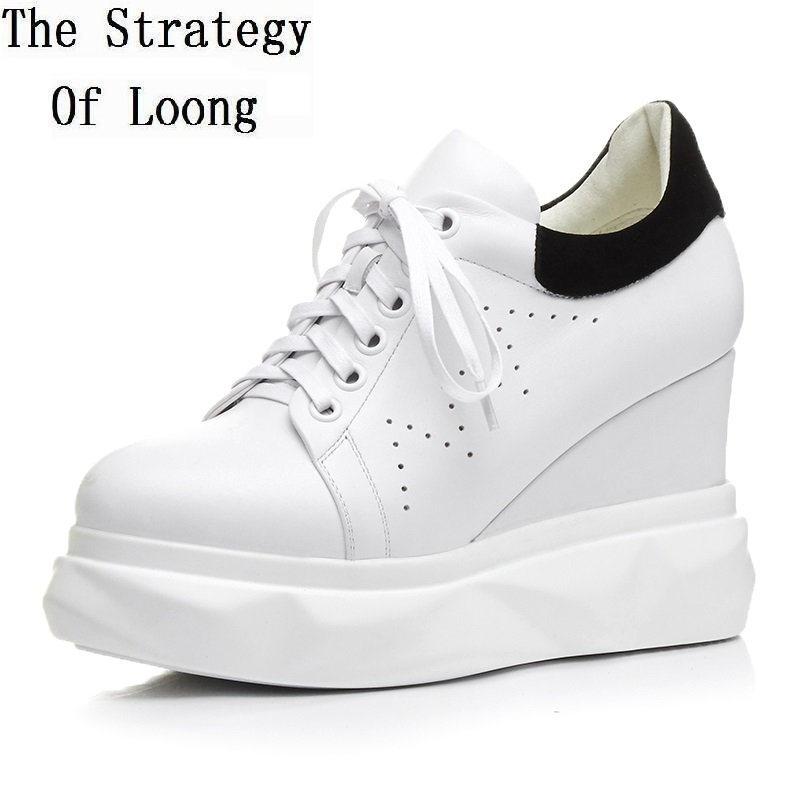 Cut Out Lace Up Spring Autumn Genuine Leather Chunky Heels Women Shoes Breathable Pointed Toe Height Increasing Shoes ZY20170825 tfsland men women genuine leather loafers students white shoes unisex spring round toe lace up breathable walking shoes sneakers