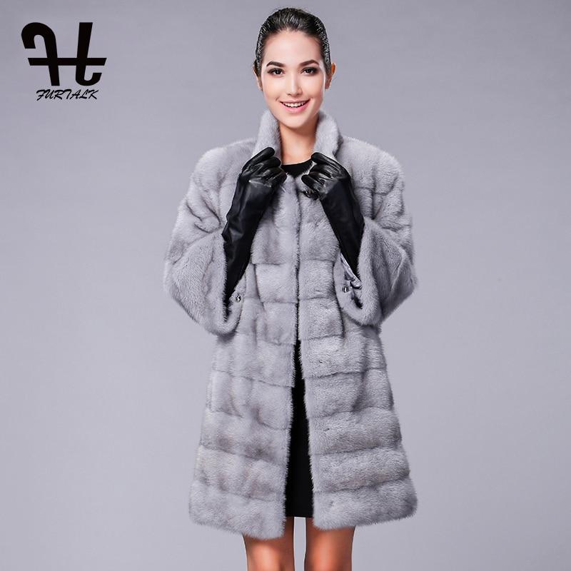 FURTALK Высокое качество Реальных Природных Норки Пальто для Женщин Зиму Норковая Шуба Меховая Куртка
