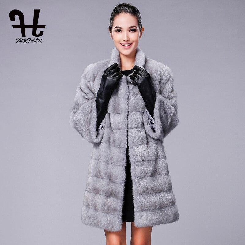 FURTALK Alta qualidade Real Natural Mink Fur Coat para Mulheres Inverno Longo Casaco de Pele De Vison Casaco De Peles