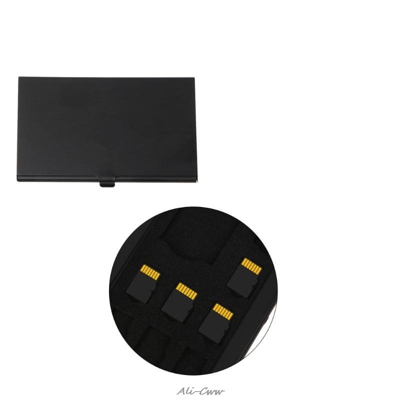 Monolayer Aluminum Alloy 1 SD+8 TF Micro SD Card Holder Protector Storage Box Case Black