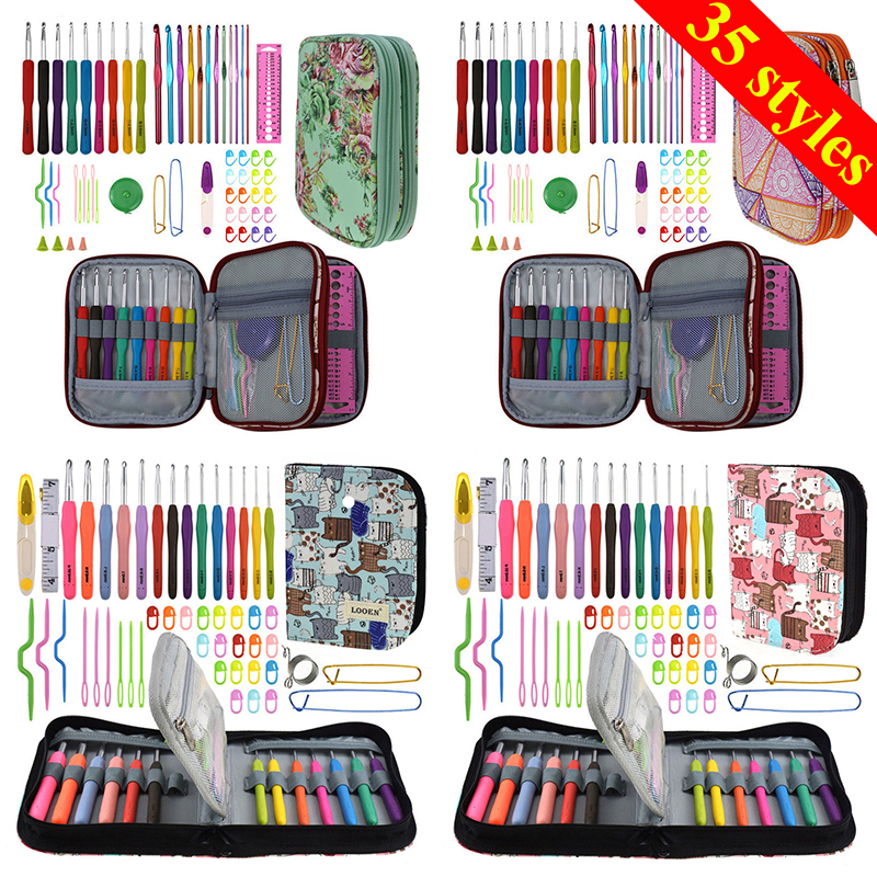 35 Styles New Set Crochet Hook Set With Yarn Knitting Needles Sewing Tools Set Knit Gauge Stitch Holder Hook For Knitting