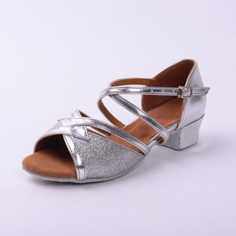 Silver Professional Latin Dance Shoes Girls Woman Shoes Salsa Ballroom Dancing Shoes Zapatos De Baile Latino Mujer Free Shipping
