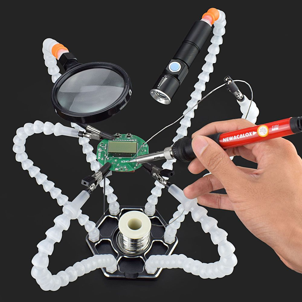 Hot 1pcs Soldering Station Third Pana Hand with 6pc Helping Hands USB Rechargeable Flashlight Magnifying Glass Welding Tool