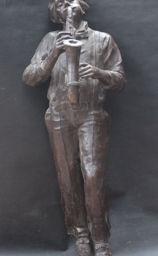 FREE SHIPPING 112 CM Large Famous Britain Bronze Stand Man Musician Mozart Beethoven Blow Horn