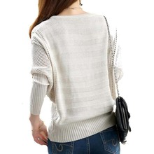 Women Solid Hollow Out Batwing Sleeve Sweater