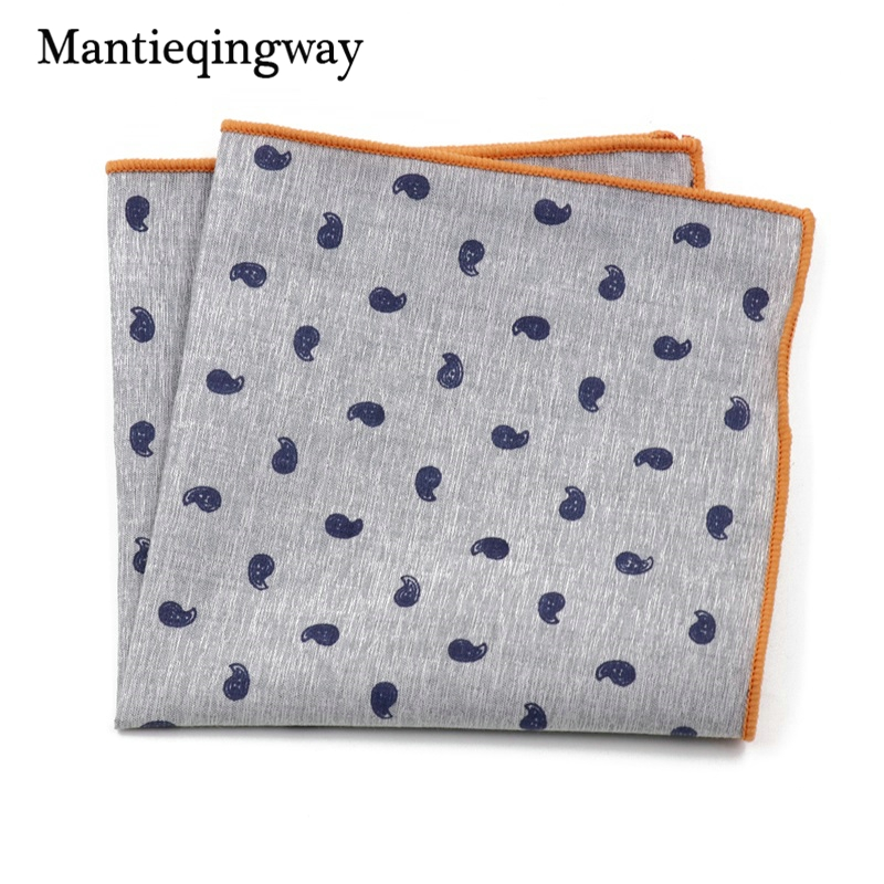 Men's Suits Cotton Handkerchiefs Woven Floral Printing Pocket Square Hankies Men's Business Casual Square Pockets Hanky