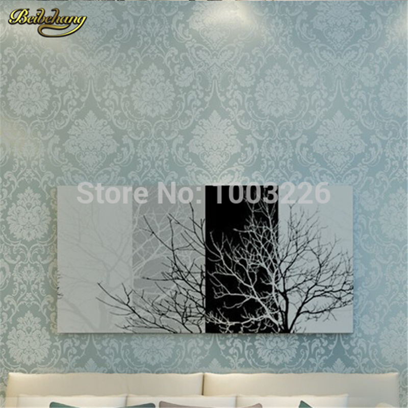 beibehang papel de parede mural wall covering classic wall paper blue background Non-woven wallpaper for living room bedroom living room bedroom wallpaper roll modern solid color non woven thin vertical stripe wall paper mural for walls papel de parede