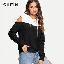 db2cb40610 SHEIN Black And White Casual Preppy Cold Shoulder Drawstring Hoodie  Sweatshirt 2018 Autumn Fashion Campus Women