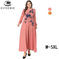 CIVI CHIC Plus Size Long Women Gown Vintage Swing Robe Femme Ethnic Floral Embroidery Maxi Dress Casual Party Vestidos 5X DRS206