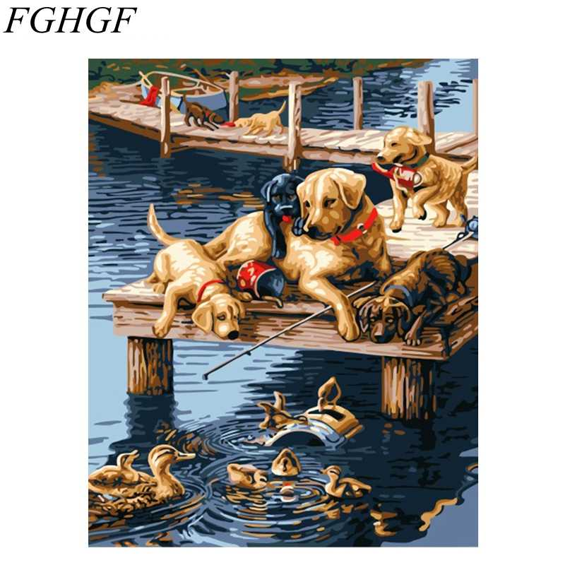 Manufactory DIY digital canvas animal oil painting by number Dogs digital Painting In Stock