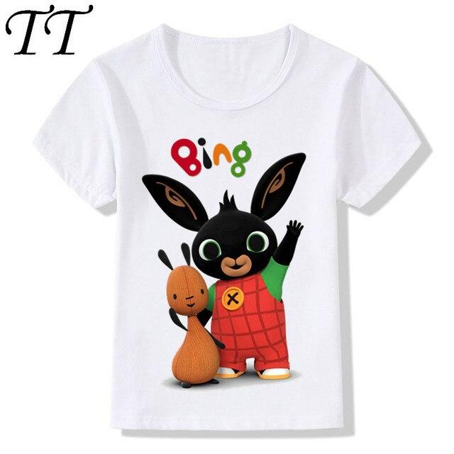 De dibujos animados Bing conejo/conejo diseño niños es divertido camisetas niños/niñas lindo camisetas de verano de los niños ropa Casual para bebé HKP5169