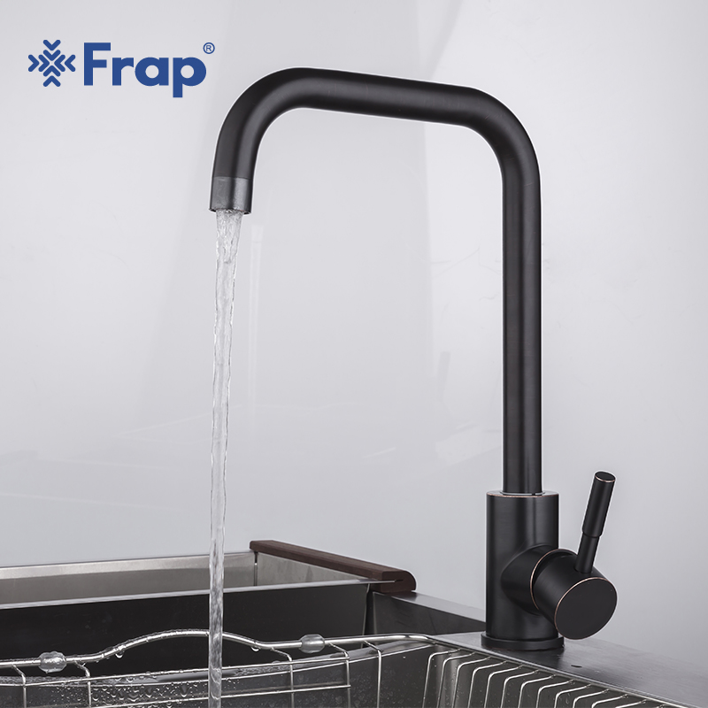 Frap Stainless Steel Kitchen Faucets Black Rotating Kitchen Sink Faucet Cold And Hot Water Mixer Taps Single Handle Tap YF40004
