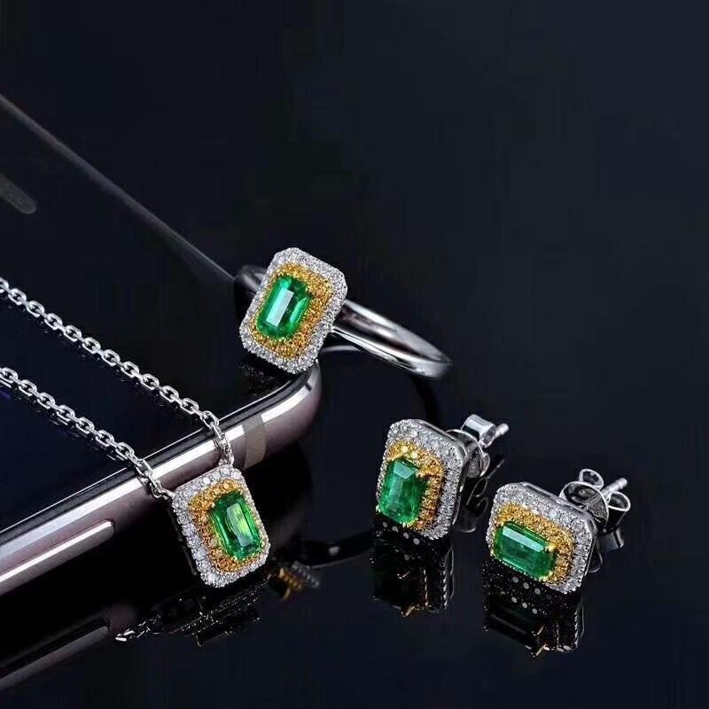 SHILOVEM 925 argent sterling naturel émeraude classique bijoux fins personnalisable femmes de mariage femmes en gros yhtz0406agml