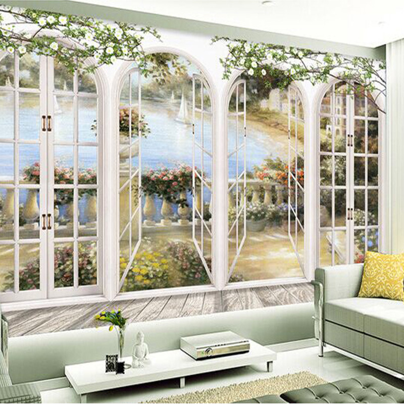 Custom 3D Stereo Window Views Garden Pool Photo Wallpaper Living Room Bedding Room Landscape Wall Decor Embossed Paper Wallpaper