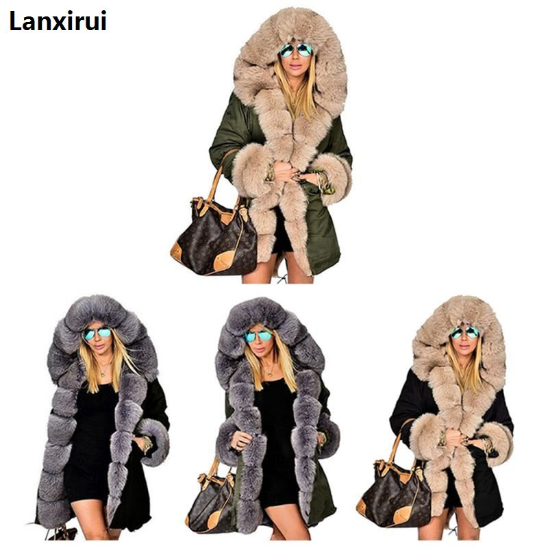 New Women Parka Casual Warm Outwear Hooded Coat Fur Manteau Woman Clothes