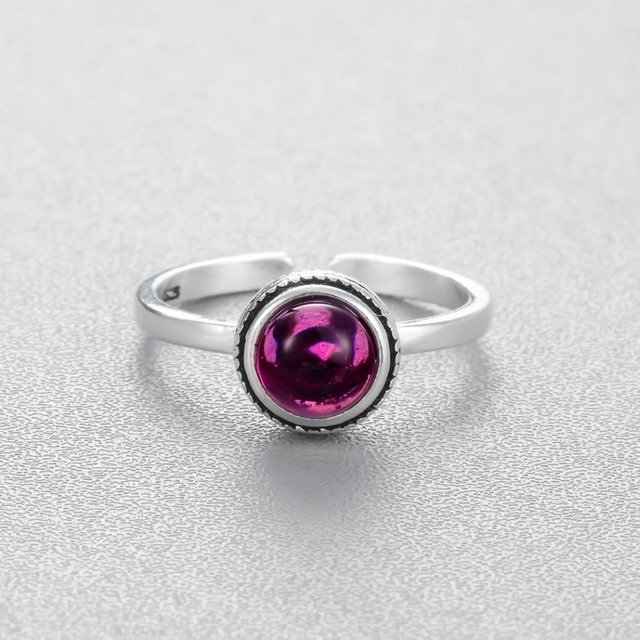 Chandler Silver Champagne Ring With Red Stone For Women Pinky Crystal Antiqie Silver Noble Classic Adjustable CZ Nail Bague