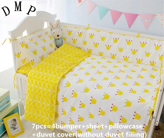 Promotion! 6/7PCS Baby bedding set Cartoon character crib bedding set 100% cotton baby bedclothes Baby Duvet  120*60/120*70cm