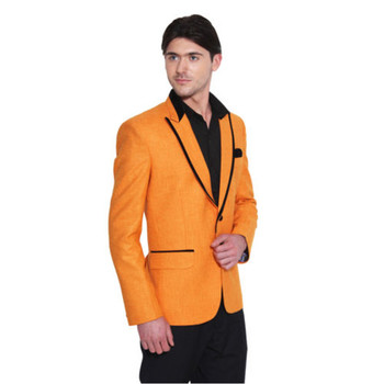 Orange Men Suits Peaked Lapel Custom Made Suits Ropa Formal Hombres Slim Fit Tuxedos Fashion 3 Pieces Groom Wear(Jacket+Pants)