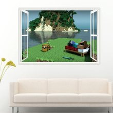 Free Shipping Hight Quality Minecraft 3D Wall Sticker For Kids Room  Wallpaper Home Decor Nordic Style