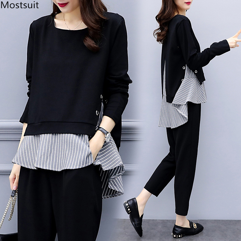 Black Two Piece Set Women Striped Splicing Long Sleeve Tops And Harem Pants Sets Casual Office Korean Ladies Suits 2019 Hot Sale