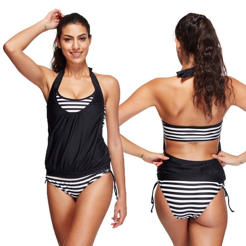 ФОТО 2016 Plus Size Tankini Swimsuit Student Two Piece Bikini Set Striped Double Up Sport Swimwear Women 2 Piece Suits XL XXL XXXL