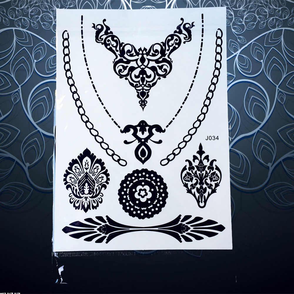 1pc Hot Black Flash Tattoo Lace Flower Chain Tattoo Jewelry Waterproof Henna Bracelet Tattoo Temporary Arm Tattoo Sticker Pbj205