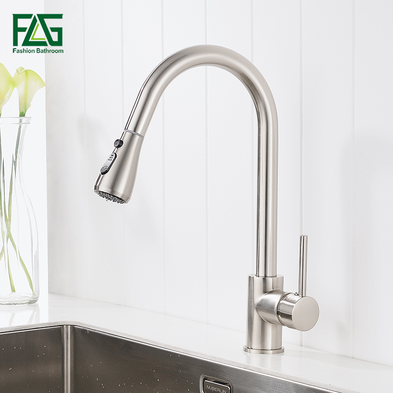 FLG Single Handle Kitchen Faucet Mixer Pull Out Kitchen Tap Single Hole Water Tap Cold and Hot Water Mixer torneira cozinha high quality single handle brass hot and cold basin sink kitchen faucet mixer tap with two hose kitchen taps torneira cozinha