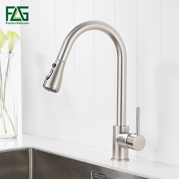 цена на FLG Single Handle Kitchen Faucet Mixer Pull Out Kitchen Tap Single Hole Water Tap Cold and Hot Water Mixer torneira cozinha