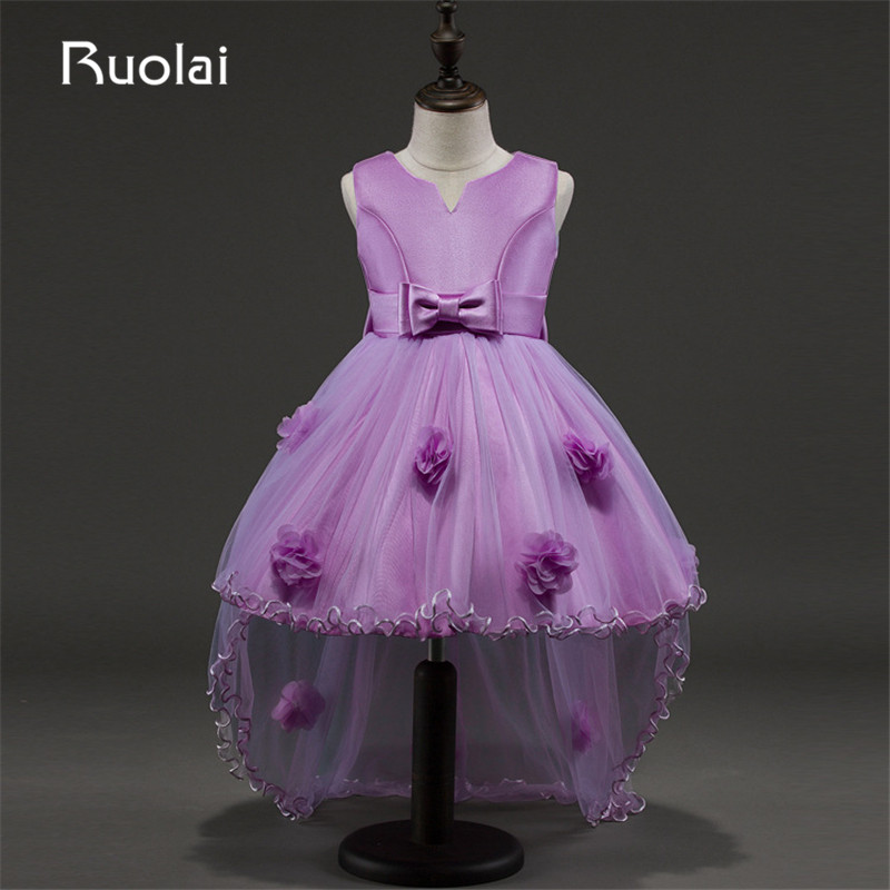 2019 Real Image Ball Gown Purple   Flower     Girl     Dresses   for Weddings   Girls   Pageant   Dresses   Sleeveless Vestido Para Daminha AFG41