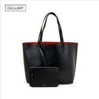 Mansur Gavriel women shopper large tote shoulder bag real leather black handbag with small mini purse designer genuine leather