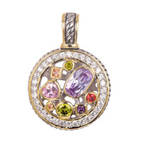 Free Shipping Amethyst Morganite Peridot Pink Topaz Ruby Pendant 925 Sterling Silver Beautiful Attractive Jewelry Pendant
