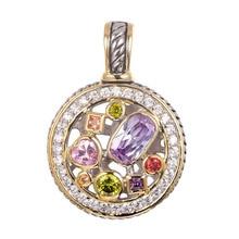 Púrpura de Cristal de Circón Peridot Pink Morganite Crystal ZirconRed Crystal Zircon Pendiente 925 Joyería de Plata Esterlina Colgante TE647