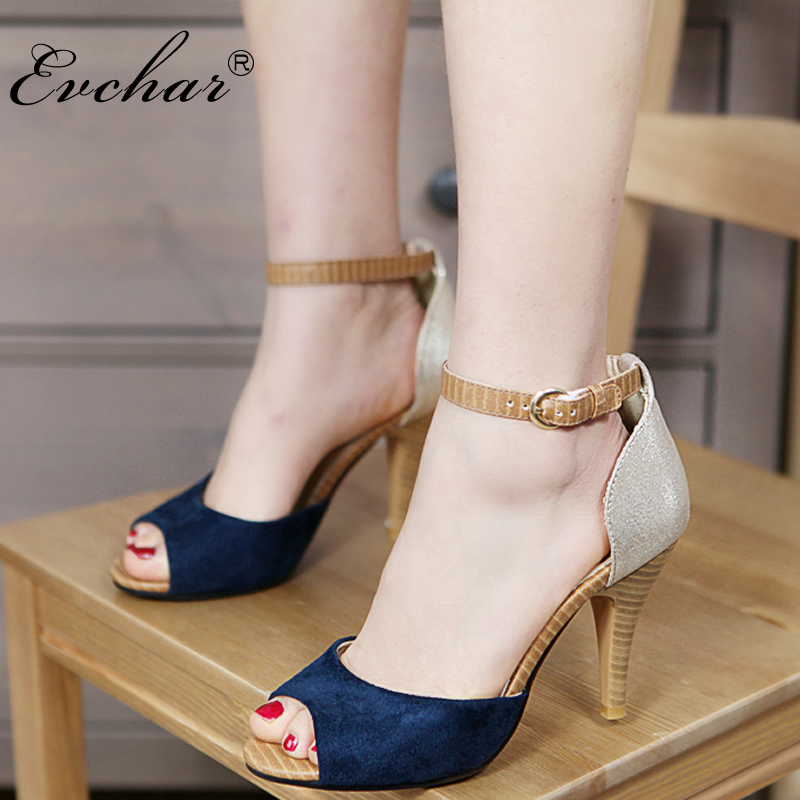 EVCHAR  Summer Super High Heels 9CM Women Sandals Peep Toe Ankle Strap sexy  fish mouth woman mixed colors Shoes big size 32-43 big toe sandal