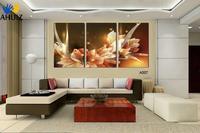 จัดส่งฟรีผ้าใบภาพวาดมั่งคั่งและความหรูหราดอกไม้สีทอง3ชิ้นรูปภาพศิลปะตกแต่งบ้านในจิตรกร...