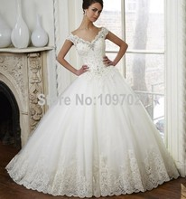 Ball Gown V Neck Off Shoulder China Wedding Dress Appliqued Beaded Tulle Gothic Bridal Dresses Vestido De Novia AS135