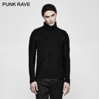 PUNK RAVE Gothic Style Men Black Street Flat Stereo Stripe Knitted Superman T shirt Fashion Long Sleeve Tees High Neck Top