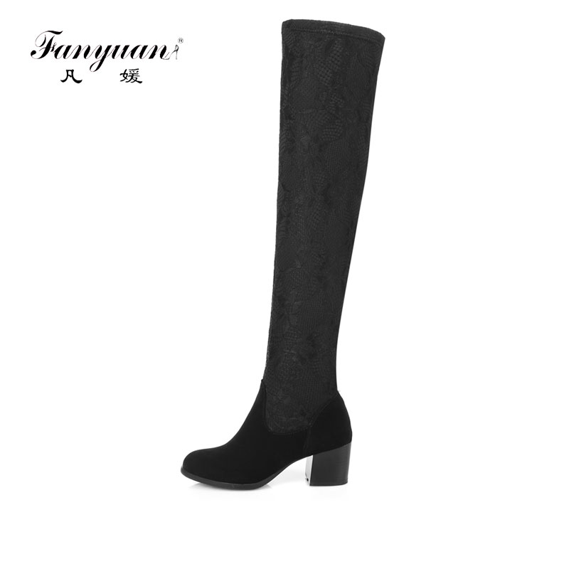 Fanyuan Sweet Ladies Stretch Fabric Slim Leg High Boots Fashion Over the Knee Boots Women pointed Toe Thick Heeled Long Boots