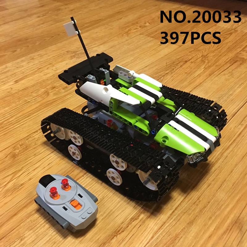 Lepin 20033 397PCS RC Tracked Racer Compatible 42065 Remote Control Caterpillar Vehicles Car Building Blocks Bricks Toy For Boys