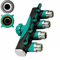 Zinc alloy + TPR 4 Way Hose Distributor Water Distributor Valve Connector For 3/4 Faucet