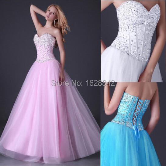 Crystal evening dress pink blue white long dresses vestidos de fiesta robe soiree formal gowns  -  Avivi Girl store