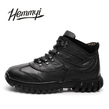 Hemmyi Genuine Leather Men's Shoes 2017 New Winter To Keep Warm Add Cotton Male Boots Black Brown Chaussure Homme