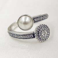 Authentic 925 Sterling Silver Ring Luminous Glow Ring White Pearl And Crystals For Women Wedding Party Gift fit Pandora Jewelry